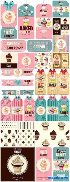 Этикетки и фоны в векторе, сладости, кексы и пирожные / Labels and backgrounds vector, sweets, cakes and pastries