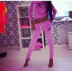 Chanel chanel sweat suits fashion luv style clothing chanel sweatsuit