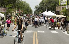 Cyclists and pedestrians take over East Sixth Street near Waller Street during Viva Streets Austin on Sunday May 20, 2012. Viva Streets Austin was Austin's first Ciclovia open street festival.