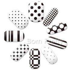 $3.84 14Pcs Nail Art Sticker Classical Black And White Dot Grid Stars Patterned - BornPrettyStore.com
