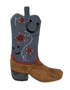western/cowboy christmas stocking | ... Star and Horseshoe Country Western Cowboy Boot Christmas Stocking