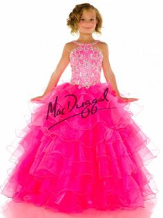 Hot Pink Little Girls Pageant Dress with Tulle Skirt | Mac Duggal 82471S