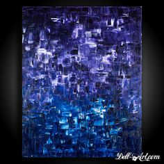Original Abstract art- modern abstract oil painting on canvas- blue and purple painting- wall decor on Etsy, $180.00