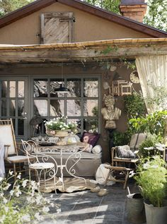 Classic Provence Style House in Modern Sweden - Decoholic Outdoor Rooms, Outdoor Gardens, Outdoor Living, Outdoor Decor, Sweden House, Pergola, Provence Style, Deco Floral, Outside Living