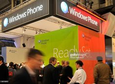 The Windows Phone booth displays products at the 2010 Mobile World Congress on February 15, 2010 in Barcelona, Spain.