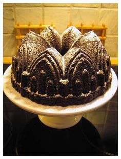 Chocolate Castle Bundt with Powdered Sugar