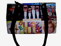 This handbag is made of album covers!  It has a red lining and seven inside pockets to keep all your stuff organized!