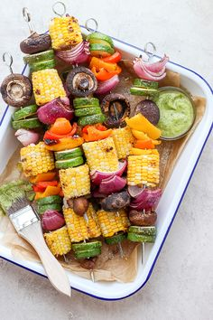 Grilled Veggie Kabobs + Creamy Chimichurri Sauce - a light and refreshing summer dish (or side dish) that you are going to LOVE! Grilled Veggie Kabobs, Grilled Vegetables, Healthy Recipes, Vegetarian Recipes, Vegetarian Kabobs, Whole30 Recipes, Free Recipes, Side Dish Recipes, Dinner Recipes