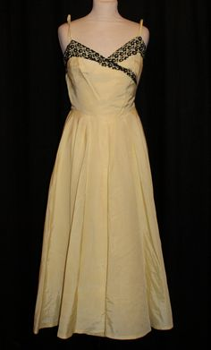 Vintage 1950s lemon yellow black lace long dress full evening gown XS S rockabilly Viva by OuterLimitz on Etsy