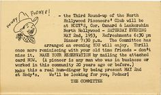 Verso of a postcard announcing the Third Round-Up of the North Hollywood Pioneer's Club, to be held at Hody's located at the corner of Oxnard Street and Lankershim Boulevard, May 2, 1953. San Fernando Valley History Digital Library.