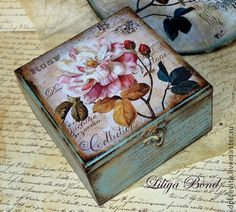 Love this box too good for cigars. Cigar Box Art, Cigar Box Crafts, Decoupage Box, Decoupage Vintage, Painted Boxes, Hand Painted, Altered Cigar Boxes, Foto Transfer, Shabby Chic Crafts