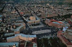 Aerial view of Republic Square, Yerevan, Armenia. Grand city square with fountains, once known as Lenin Square, used for public events and celebrations. Forest Resort, Yerevan Armenia, Armenian Culture, Across The Border, Seven Wonders, Birds Eye View, Central Asia, Capital City, Pilgrimage