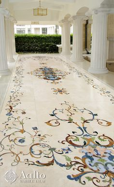 Many people don't realize that marble can be used in many outdoor situations. Here we have used all natural stone to create a welcoming floor for this covered walkway.