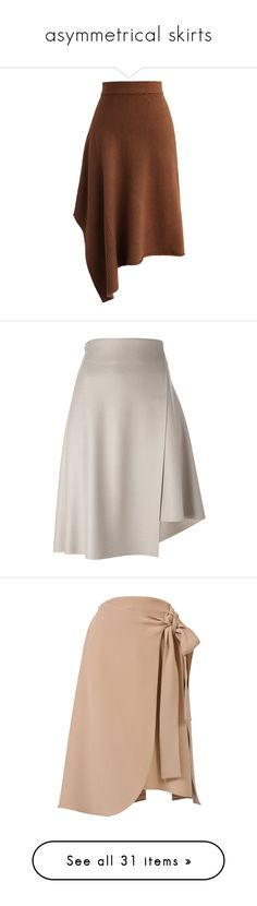 """""""asymmetrical skirts"""" by rhianna-alexandre ❤ liked on Polyvore featuring skirts, brown, brown skirt, asymmetrical hem skirt, wool blend skirt, chicwish skirt, tan skirt, pink skirt, asymmetrical skirt and pink wool skirt"""