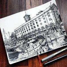 Sketching in #stkatherinesdock last week #london #richhindsketchbook #usk