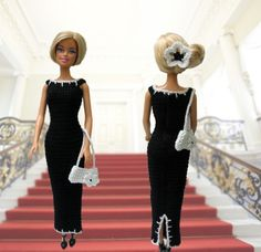 Barbie clothes - black long crocheted evening dress and purse with white silver…