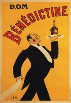 Dom Benedictine Waiter Liquor Alcohol France Vintage Poster Repro from WONDERFULITEMS - Discount Poster Store