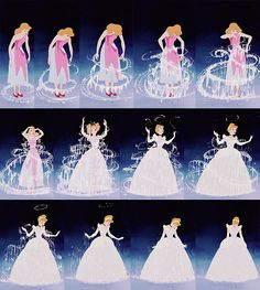 Cinderella ~ It is well known that the transformation of Cinderella's ripped dress into her iconic ball gown was Walt Disney's favorite piece of animation ever (and with good reason!).