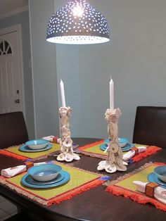 Jane Coslick Cottages~~~~~ Oyster shell candlesticks