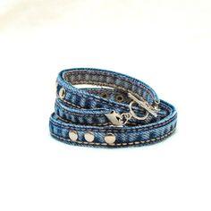 Triple wrap bracelet with silver-tone studs denim by LiziRose