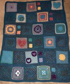 Mix and match squares and granny square blanket.
