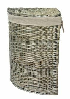 Corner Laundry Basket Hamper Rattan Wicker Red