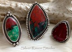 Three Handcrafted Rings by Marie Murphy featuring Sonora Sunrise & Red Alunite.