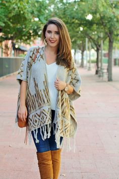 Poncho for the fall; over the knee boots; fall fashion, fall outfit, fall style
