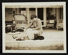Citation: Katharine Ward Lane (Weems) seated with dog, ca. 1935 / unidentified photographer. Katharine Lane Weems papers, Archives of American Art, Smithsonian Institution.