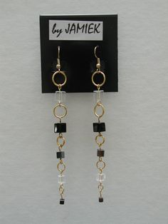 Earrings Ring and Block Chain with Black and Clear by rrdesigns561