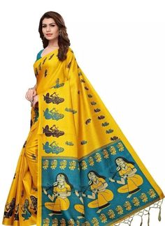 Printed Khadi Silk Saree With Blouse Piece COD Available | Free Return & Full Refund Price: ₹499 Feel free to call us on +91-7999219541 if you need any help with ordering online. Thank you. #cottonsaree #embroidery #iwearhandloom #silk #khadisaree #trending #sarees Lace Saree, Kalamkari Saree, Art Silk Sarees, Silk Sarees Online, Cotton Saree, Sari, Saree Blouse, Yellow Saree, Green Saree