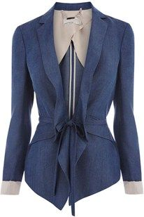 Drawstring Waist Tailored Blue Jacket, by Karen Millen
