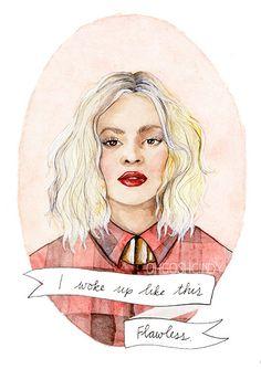 Beyoncé Knowles watercolor portrait illustration by ohgoshCindy