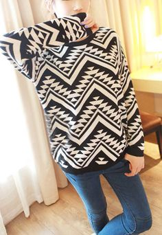 $34.90 USD  [grls76000058]Pop Style Loose Fitting Pullover Geometric Figure Knit