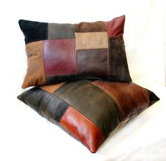 Upcycled Leather Patchwork Pillows - Made from Leather Coats, Garments, and Leftover Upholstery Samples - Handmade by Uptown Redesigns (www.uptownredesigns.com)