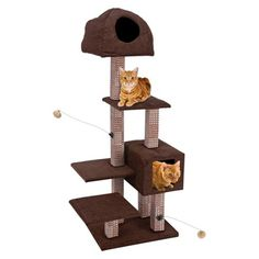 """The Bamboo Rubbing Posts Cat-Lifeâ""""¢ Dual Hide-Away and Lounge Tower *** Startling review available here  : Cat Doors, Steps, Nets and Perches"""