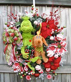 Grinch and Reindeer dog Max Christmas Wreath, by IrishGirlsWreaths, $169.99