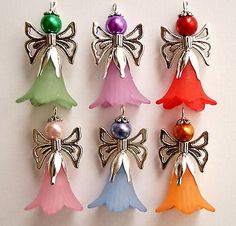 6x Large Guardian Angel Charms Lucite Frosted Flowers Silver Wings Beads Mixed
