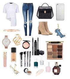 """Sans titre #24"" by kerrad ❤ liked on Polyvore featuring WithChic, Yves Saint Laurent, Native Union, Anya Hindmarch, Harry Winston, Topshop, Hueb, Stila, Rodial and MAC Cosmetics"