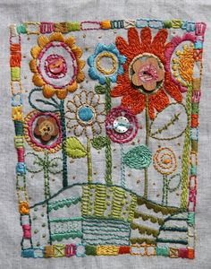 Flower Garden embroidery. Design by homegrownhospital… Via Yong won ♥ Lee