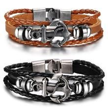 Black Genuine Braided Leather Bracelet