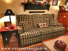 Buffalo check, country primitive style sofa with a wing-back style! During the m… Buffalo check, country primitive style sofa with Decor, Furniture, Country Sofas, Living Room Colors, Primitive Homes, Home Decor, Primitive Decorating Country, Country Furniture, Primitive Furniture
