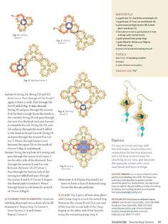 Beadwork Favorite Bead Stitches (p 41)  Designer:    Materials: 13/o charlottes, 14/o hex, 3 - 4 mm teardrop, 6.5 montee