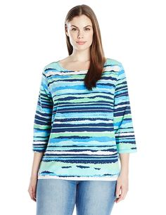 Ruby Rd. Women's Plus Size Embellished Boat Neck Front Torn Stripe Knit Top *** Unbelievable  item right here! : Fashion