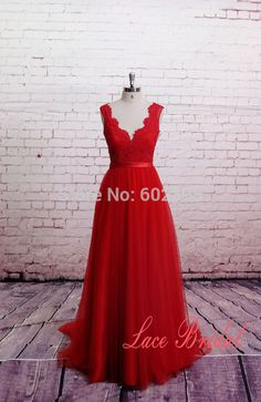 Find More Evening Dresses Information about Real Photo Lace Red Evening Gown…