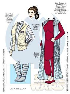 Star Wars Paper Dolls: Leia Organa No. Papercraft Anime, Paper Art, Paper Crafts, Princesa Leia, Star Wars Love, Star Trek, Star Wars Crafts, Paper People, Vintage Paper Dolls