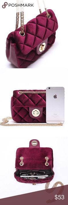 Quilted Crushed Velvet Velour Burgundy Crossbody Burgundy Crossbody Bag with 18k gold metal colored chain * Fabric:90% Velvet,10% Pu Leather,Lining:100% Polyester * L:8.5'' W:2.6'' H:6.1'', Drop 12''(Shoulder) 23''(Crossbody) * Pockets: 1  Velvet is back and is very important in this fall's fashion lineup! Eyelets on top allow you to adjust it to a crossbody or a shoulder bag. Perfect petite size for just your every essentials or for a night out. It's a classic quiltted style bag in the hot…