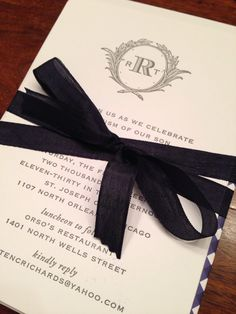Beautiful letterpress christening invitations with navy gingham liners from postscriptpaper.com