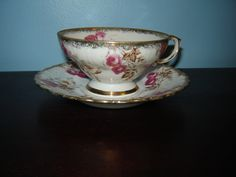 Vintage Tea Cup and Saucer, Gold and Pink Floral