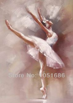 Hand Painted Modern White Woman Ballet Dancer Oil Painting Abstract Dancing Canvas Picture Hanging Wall Art Deco For Home